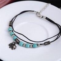 Shellhard Barefoot Beach Cahin Anklet Charming Natural Stone Beads Pendant Elephant Anklet Bracelet Female Bijoux Jewellery