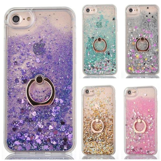 Caso de anel para apple iphone 5 5S se 6s 7 8 plus x xs xr xs max 5se s glitter líquido dinâmico titular macio volta telefone capa coque