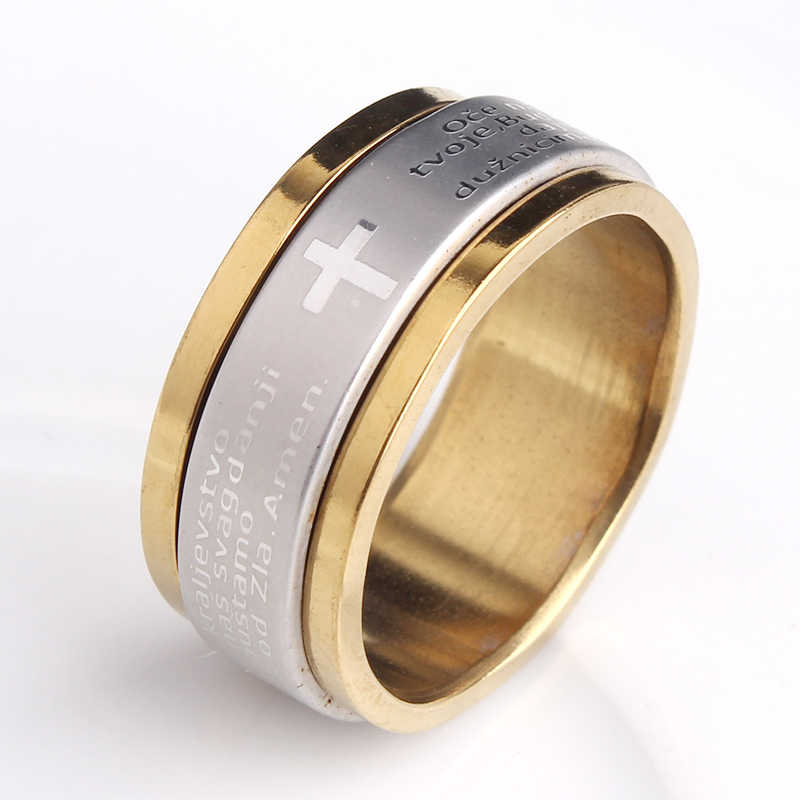 Fashion Punk Bible Cross Rotate Ring For Men 7mm Gold Color Stainless Steel Wedding Rings jewelry wholesale