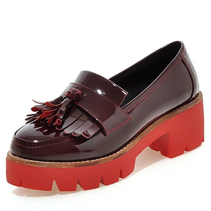 ФОТО black red beige New 2016 Women's High Heels Women Pumps Sexy Tassel Party Square Heel Round Toe pu High Heel Shoes