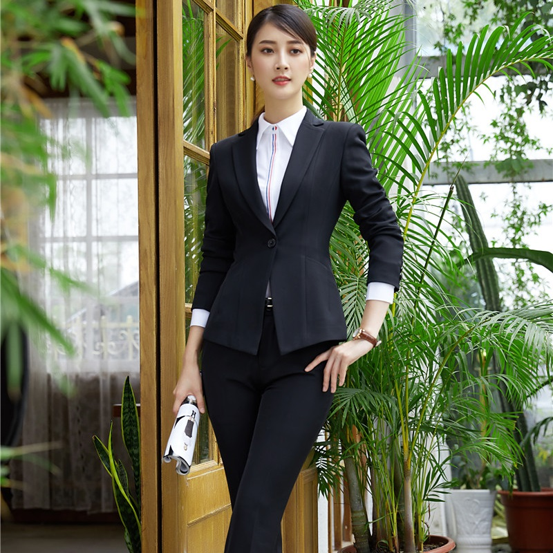 Buy Elegant Black Slim Pantsuits Autumn Winter Blazers For Business Women Work Wear Female Pants Suits Trousers Sets Plus Size for only 35.7 USD