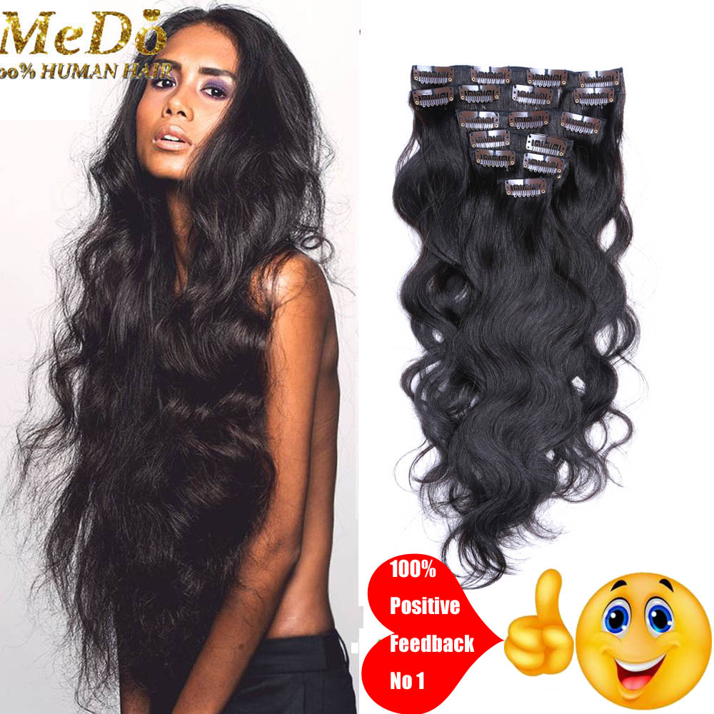 Peruvian Clip In Hair Extensions Body Wavy Virgin Remy Hair Clip Ins