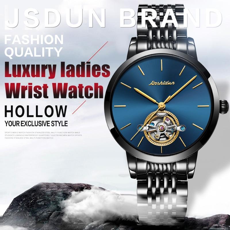 JSDUN High Quality Mechanical Watch Japan Moveme Top Brand Women Watches Automatic Luxury Stainless Steel Gold Black Women Watch