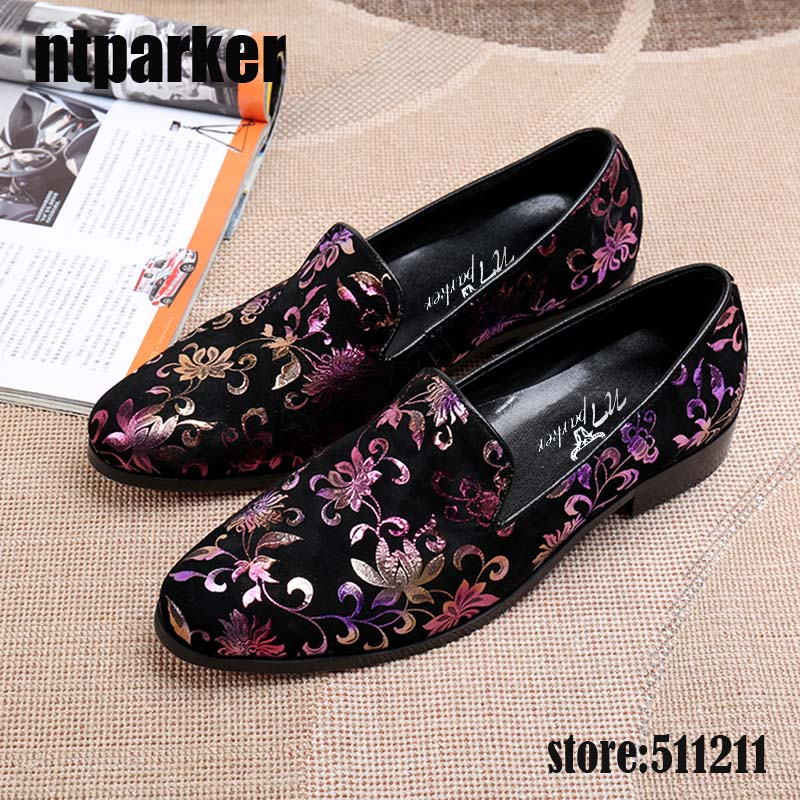 ntparker Luxury Summer Men Loafers Slip on Mens Leather Shoes Mixed Colors Print Flowers Men's Shoes Flats, Big Size 38-46 men mixed print tee