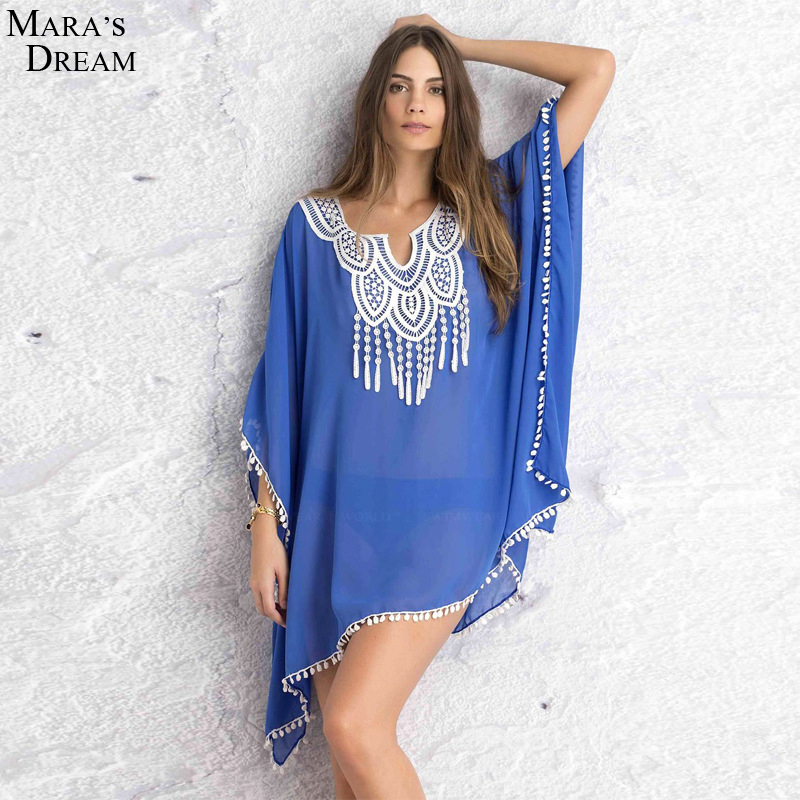 Women Sexy Summer Sexy Lace Beach Mini Dress V Neck Long Sleeve chiffon Beach Cover Up SwimWear Cotton Bathing Suit