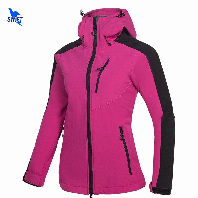 Winter Thermal Tech Fleece Waterproof Hoodies Softshell Jacket Women Windbreaker Outdoor Sports Hiking Camping Trekking Clothing