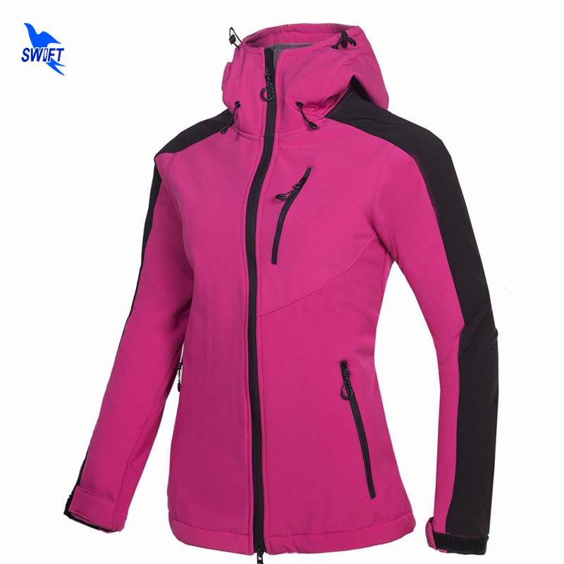 Winter Thermal Tech Fleece Waterproof Hoodies Softshell Jacket Women Windbreaker Outdoor Sports Hiking Camping Trekking Clothing