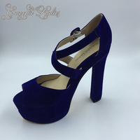 Royal Bleu En Daim Bout Rond Cheville Sangle Plate-Forme Pompes Pas Cher bleu Stilettos Chine Haute Talon Chaussures Plus La Taille 44 Femmes chaussures