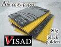 Бесплатная доставка VISAD 80 г 100 шт./лот черная и Золотая A4 копировальная бумага ручная бумага Оригами оптовая продажа