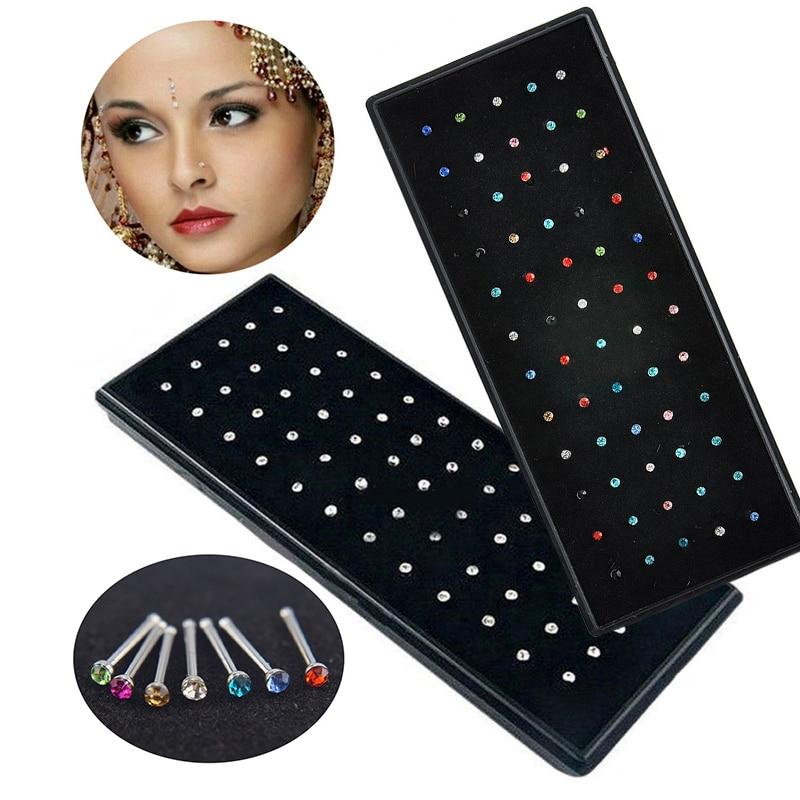 Хрустальное кольцо для носа и шпильки для женщин и девочек, ювелирные изделия, хирургический стальной нос, пирсинг, белые/цветные стразы, юв...