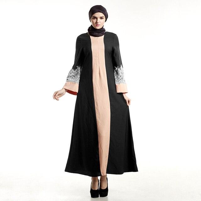 3453205fba2a Abaya musulmano Islamico Rappezzatura Del Merletto Vestiti Per Le Donne  Musulmano Manica Lunga Maxi Vestito Delle