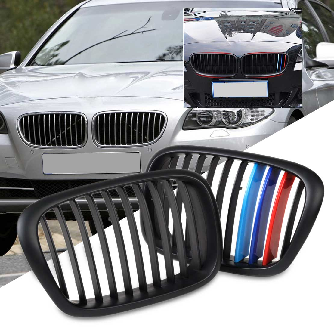 beler 2x New Front Gloss Wide Kidney Grille Grill + 3 Pieces Colored Adhesive Tape set for BMW 5 Series E39 1995-2002 2003 2004 front euro kidney grille matte black for bmw e39 5 series 2001 2003