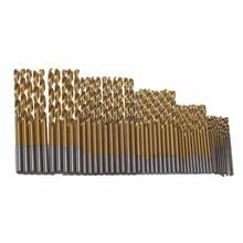 New 50Pcs Set Twist Drill Bit Set Saw Set HSS High Steel Titanium Coated Drill Woodworking