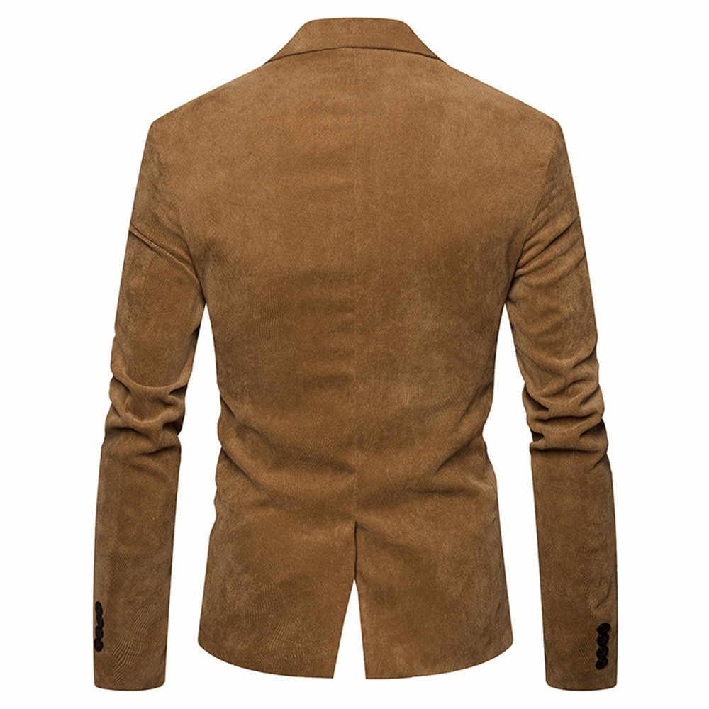 גברים של סתיו חורף מקרית קורדרוי Slim ארוך שרוול מעיל טרנץ מעיל בלייזר למעלה דק גברים מעיל להאריך ימים יותר מעילי זוג 2018