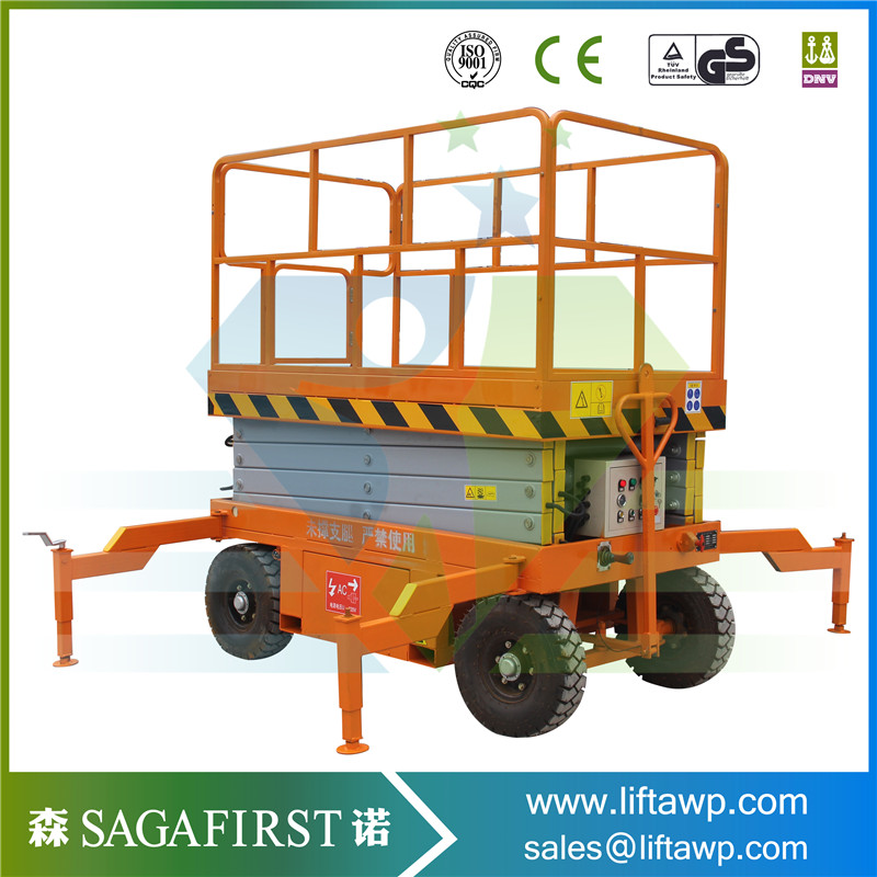 Hydraulic Electric Towable Moving Scissor Lift Plaltform
