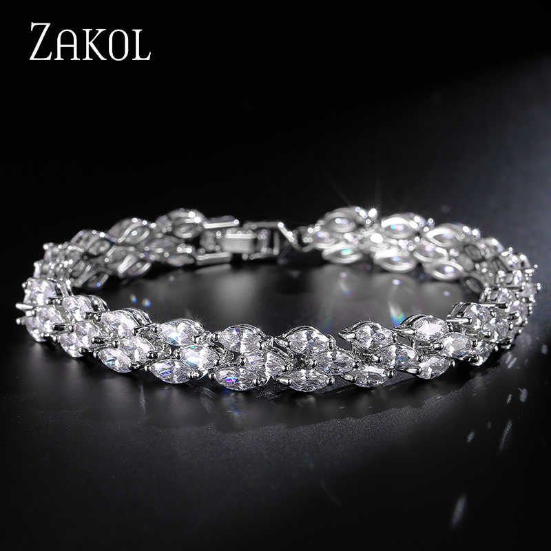 ZAKOL Trendy Roman Wedding Bracelets Marquise Cut Clear Cubic Zircon Leaf Bracelets & Bangles For Women Party FSBP130