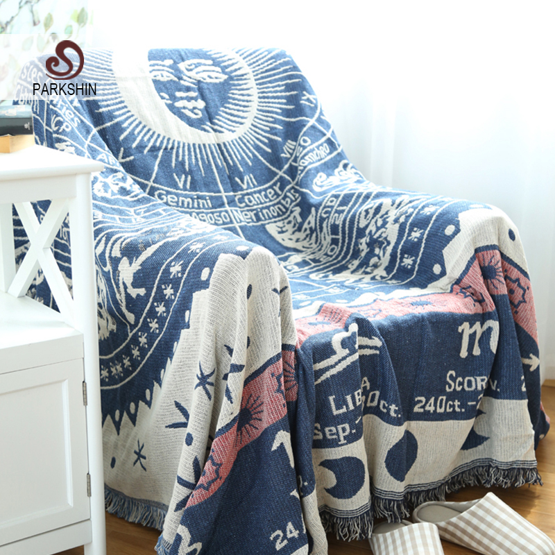 Parkshin High Quality Blanket 100% Cotton Sun God White Knitted Bedspread For Sofa/Bed/Home 130cmX180cm Blanket