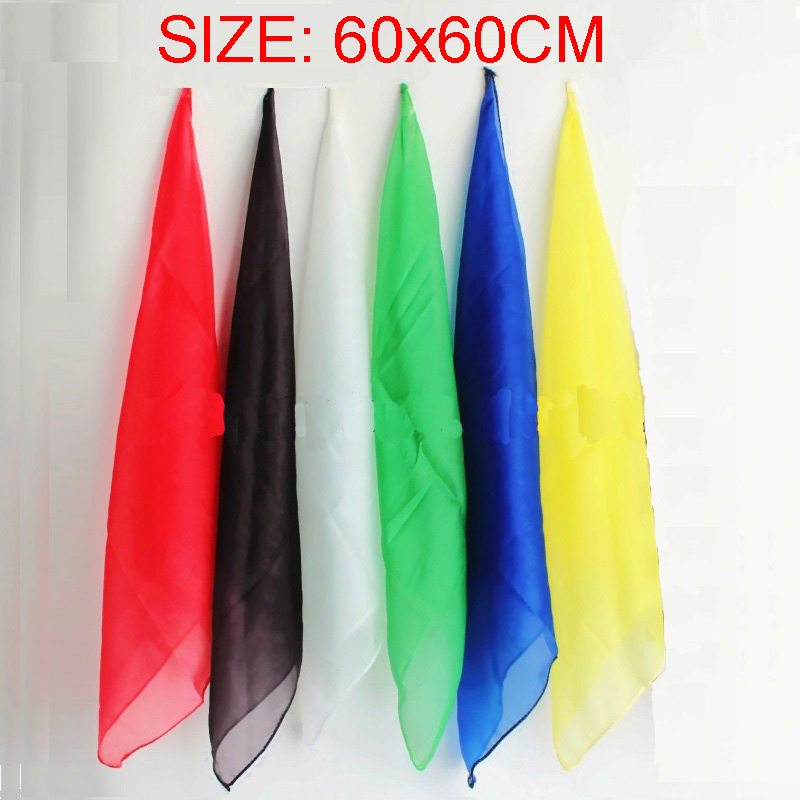 6pcs / lot 60 * 60cm Magic Silk Change Colour Silk Scarf Multicolor Ultra-Thin Sharks Stage For Magic Tricks Close Up Сиқырлы Продукты