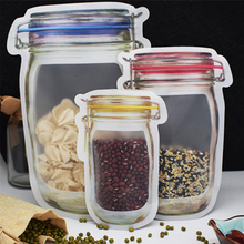 10pcs Bottle Shape Transparent Self-Sealing Package Bag Dried Fruit Grains Baking Food Snack Tea Storage Kitchen Organizer