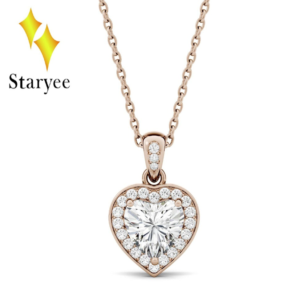 Certified 18K Rose White Gold Moissanite Wedding Pendant Lab Grown Diamond Heart Pendants For Women Necklace Chain Fine Jewelry недорго, оригинальная цена
