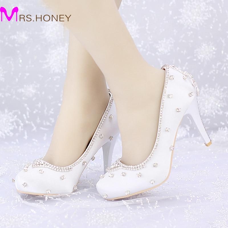 ФОТО Closed Toe White Satin Wedding Shoes Rhinestone Prom Party High Heels Luxurious Top Quality 8cm Heels Custom Handmade Platforms