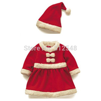 Toddler Baby Girl Christmas Suits Winter Party Clothes Bowknot Dress Hat Hot Selling