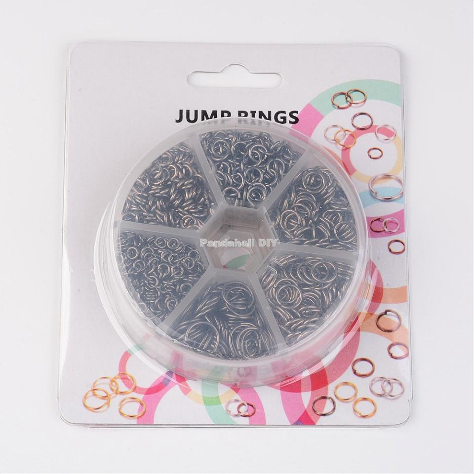 Iron Jump Rings for Jewelry Making DIY Metal Findings Red Copper Antique Bronze Nickel Free Mix Sizes 4~10x0.7~1mm,1745pcs/box 16