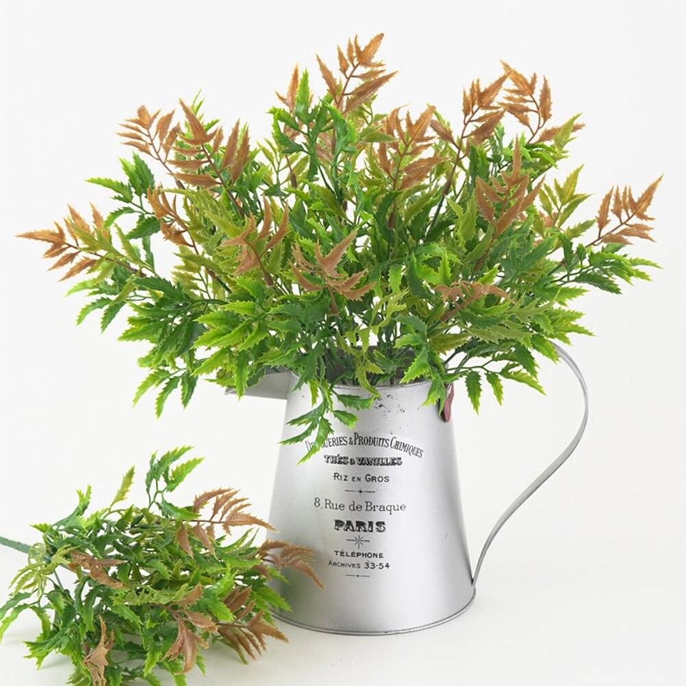 6 вилок искусственные растения Моделирование зеленый травяной лист осень Pteris листья папоротника домашний стол Сад Стены Свадебные украшен