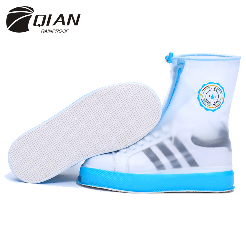 QIAN Waterproof Rain Reusable Shoes Covers All Seasons Slip-resistant Zipper Rain Boots  ...
