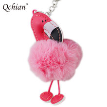 2017 Faux Fur Flamingo Key Chain For Women Bags Charm Hanging Pendant Jewelry Handbag Wallet Jewelry Llavero Chaveiro Gift