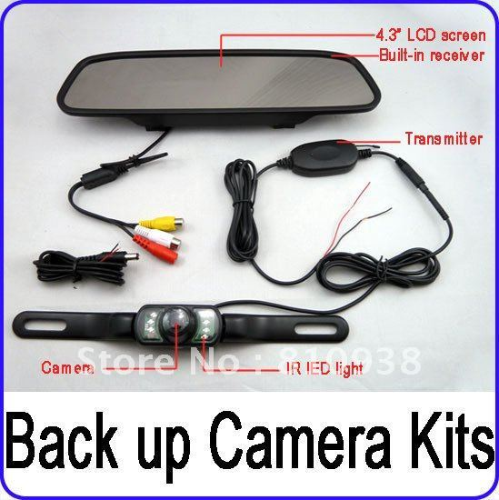 "4.3"" Wireless Mirror Monitor Reverse Camera Car Kit Night Vison 2.4GHz  rear view system"
