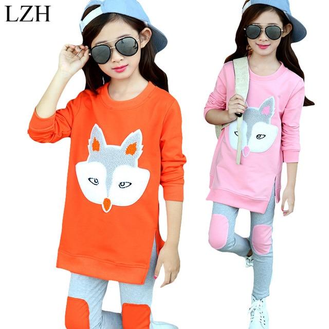 Kids Girls Clothes Sets Teenage Girls Clothing Fox Shirt+Pants 2017 New Spring Big Girls Sports Suit Children Clothing 4-12 Year