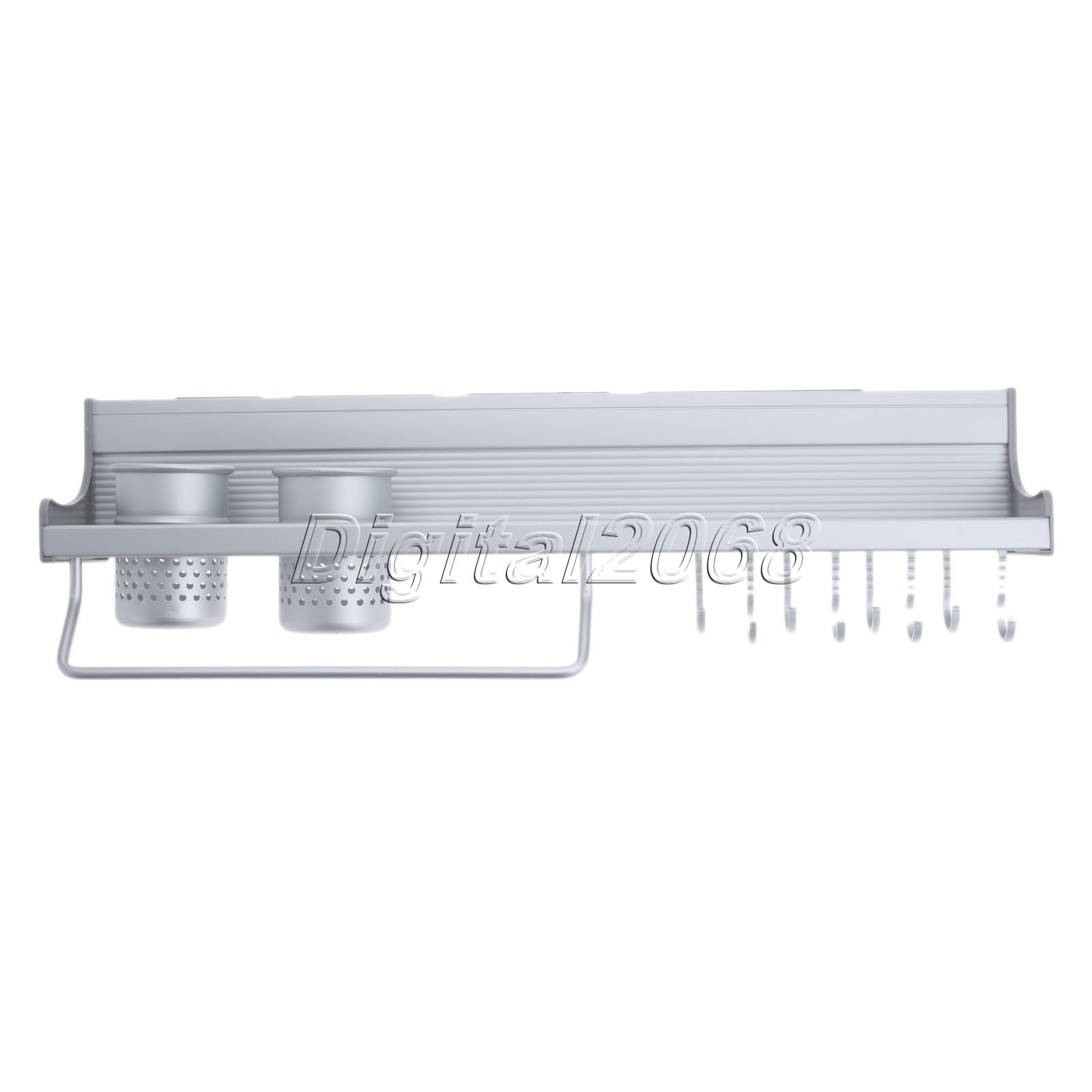 Space Aluminium Kitchen Storage Shelf Kitchen Rack Spice Tool Holder Wall Mount Dinnerware Wall Shelves Utensils Organizer 60cm