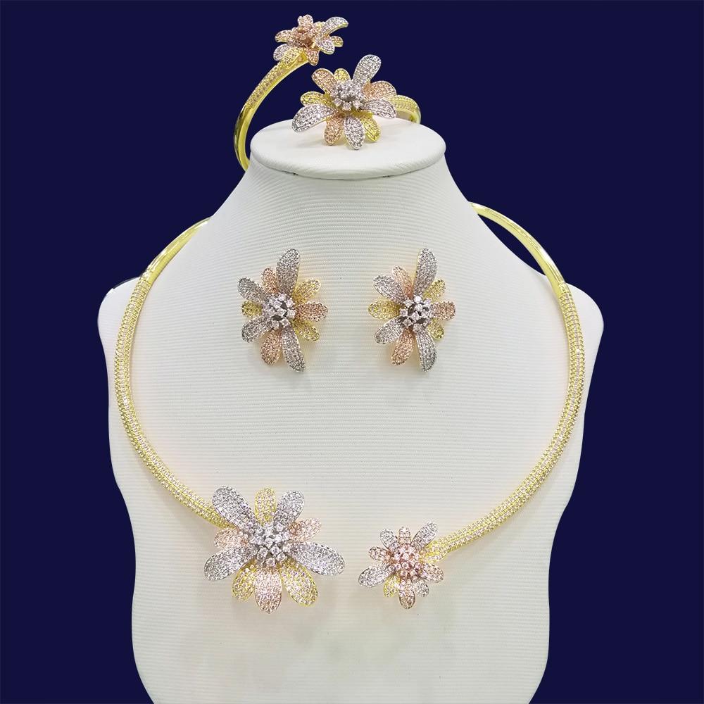 Ensembles de bijoux de mariage pour femmes chrysanthèmes argent zircon cubique résultats de bijoux collier boucles d'oreilles bracelet anneau ensemble