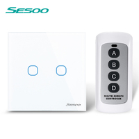 SESOO Remote Control Switches 2 Gang 1 Way White Crystal Glass Switch Panel Remote Wall Touch