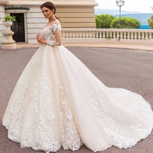 HZWL Embroideries Wedding Gowns V Neck trouwjurk Church Long Bridal Dresses.  US  226.59   piece Free Shipping 4a52d0421b81