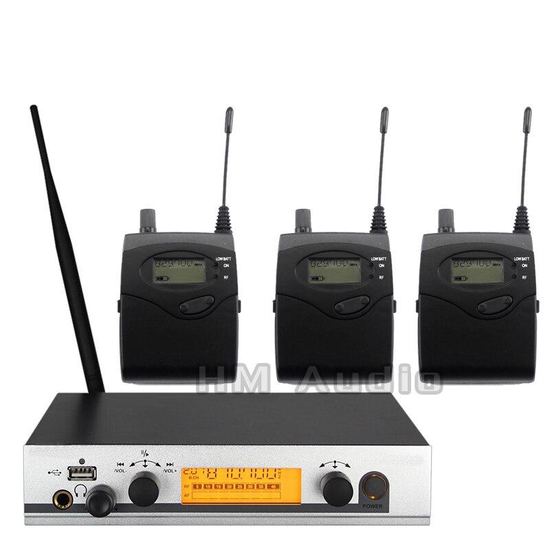 No Monitor de Ouvido Sem Fio Sistema EW300 IEM Monitoramento Profissional para o Desempenho Do Estágio Único transmissor 3 receptores