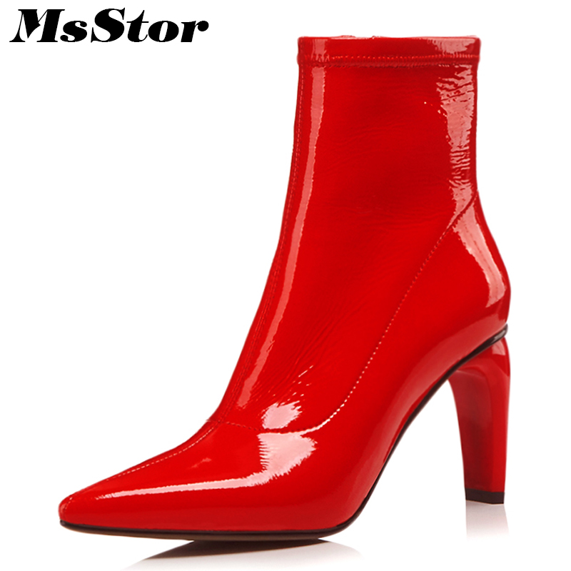MsStor Pointed Toe High Heel Boots Shoes Woman Casual Fashion Metal Zipper Ankle Boots Women Shoes Elegant Sexy Red Women Boots