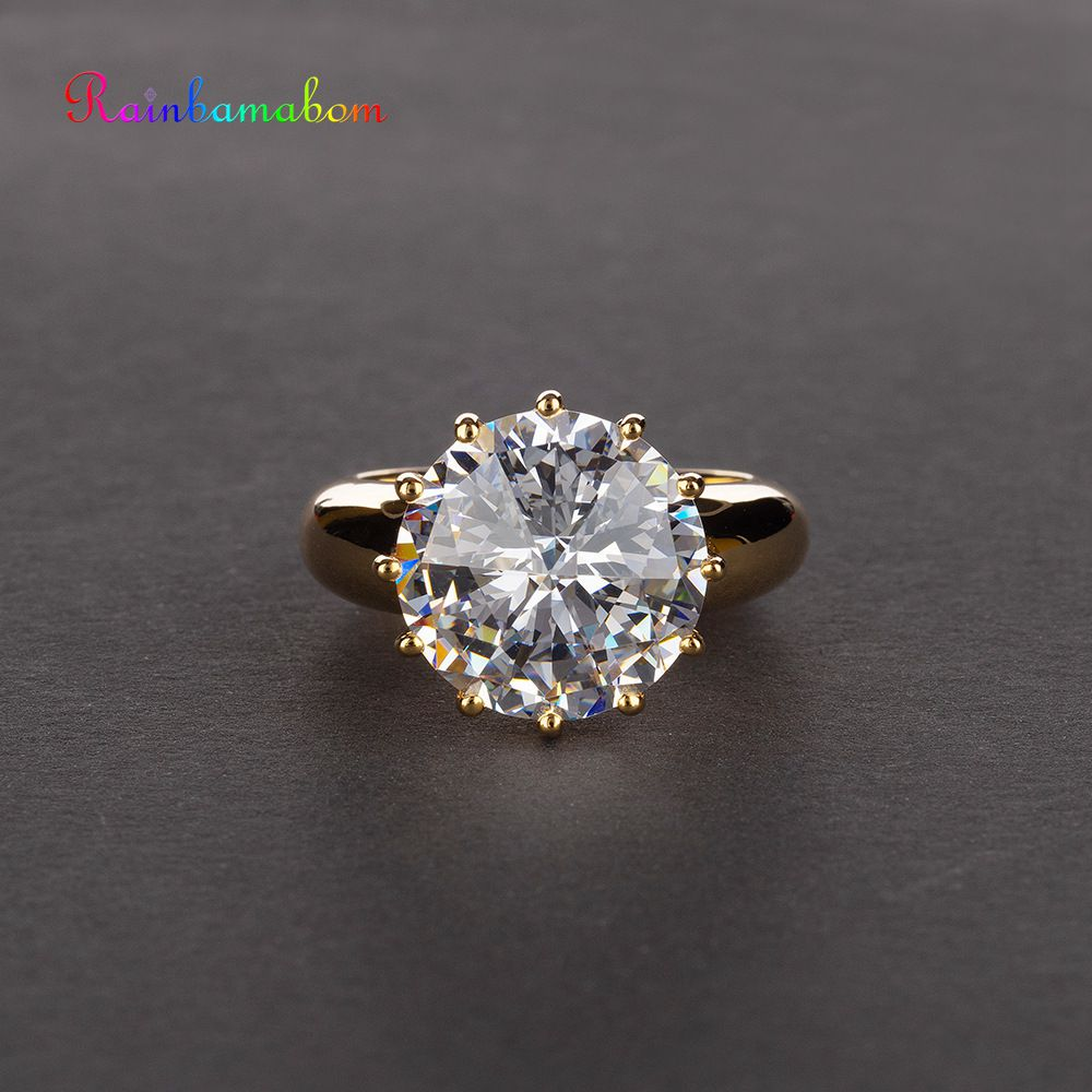 Rainbamabom Vintage 925 Sterling Silver Created Moissanite Gemstone Wedding Engagement Couple Ring Jewelry Wholesale Size 5-12