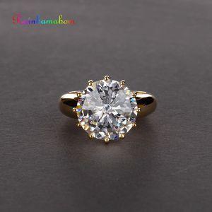 Image 1 - Rainbamabom Vintage 925 Sterling Silver Created Moissanite Gemstone Wedding Engagement Couple Ring Jewelry Wholesale Size 5 12