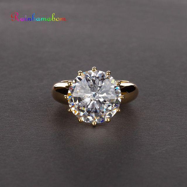 Rainbamabom Vintage 925 Sterling Silver Created Moissanite Gemstone Wedding Engagement Couple Ring Jewelry Wholesale Size 5 12