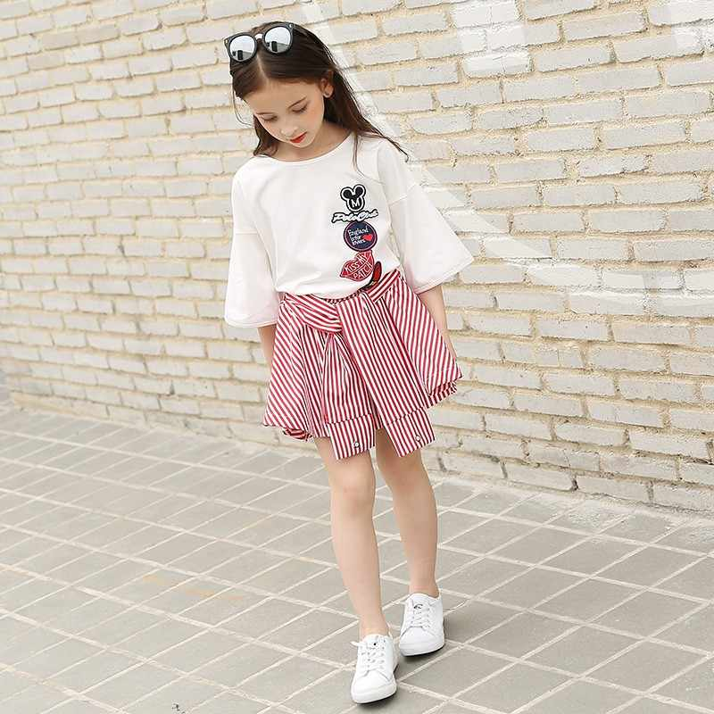75123b5691fb4 Teenage Girls Clothing Sets for Teens Girl Children Summer Half Sleeves T  Shirts+Skirt Pants 11 12 13 14 Kids Clothes 2pcs Sets
