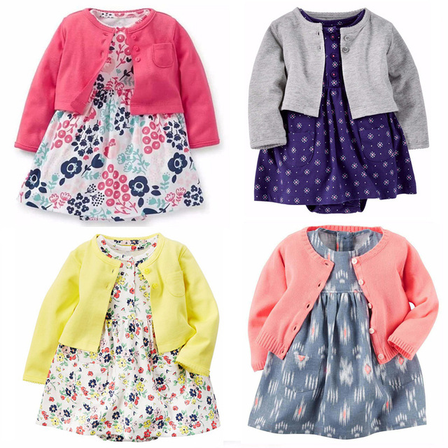 Bébé Filles Vêtements Ensemble Robe Body 2 pcs (Manches Longues gilet + Robe Body) Bebes carter bébé