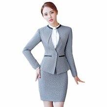 Gray Two Piece Set Office Ladies Formal Skirt Suit Size S-4XL Office Uniform Designs Women Business Suits for work