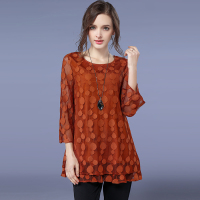 womens tops and blouses plus size summer top chemise femme women blouses black/orange chiffon lace