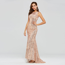 Tanpell sequins long evening dresses scoop sleeveless floor length sweep train mermaid dress women formal custom gown