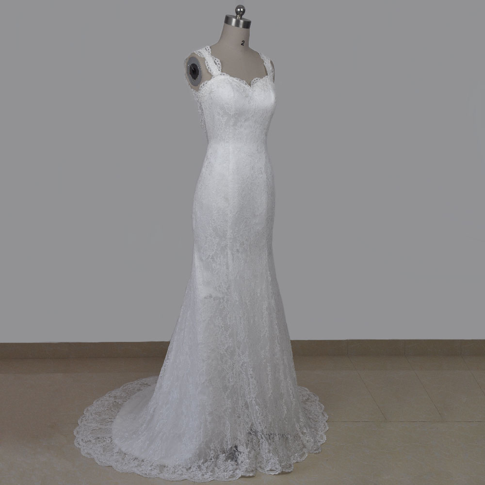 Real photo hochzeitskleid meerjungfrau spaghetti trägern ...