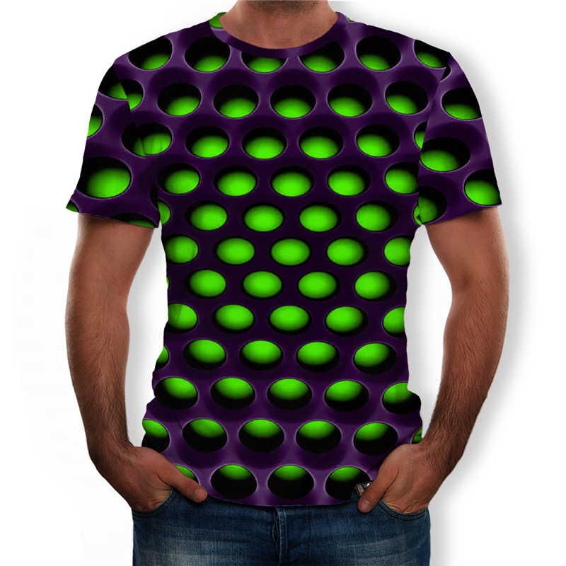 Мужская футболка большого размера 2019 летние геометрические круглые 3D печатные футболки модные с круглым вырезом с коротким рукавом повседневные свободные мужские рубашки