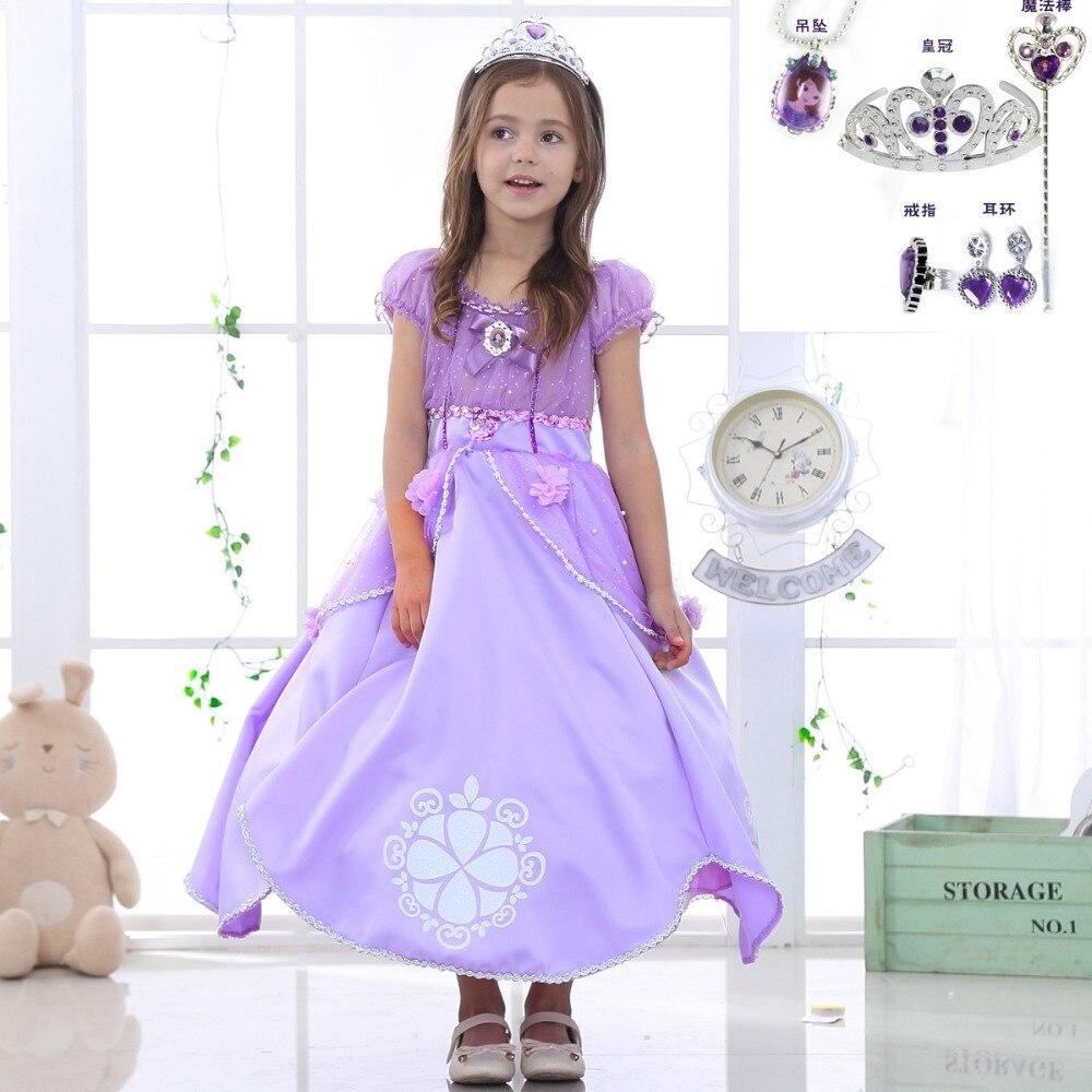 Sophia dress Girl long skirt sofia cotton short-sleeved princess  Dress performance costume for kids Halloween cosplay skirt