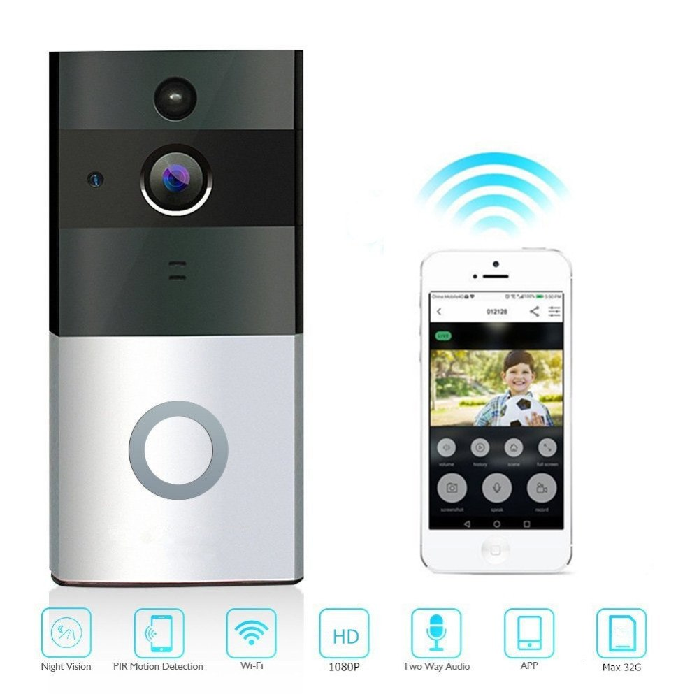 LESHP Wireless WiFi Video Doorbell 1080P HD Ring Doorbell Camera Night Vision Two-way Audio 2.4G Phone Remote PIR MotionLESHP Wireless WiFi Video Doorbell 1080P HD Ring Doorbell Camera Night Vision Two-way Audio 2.4G Phone Remote PIR Motion